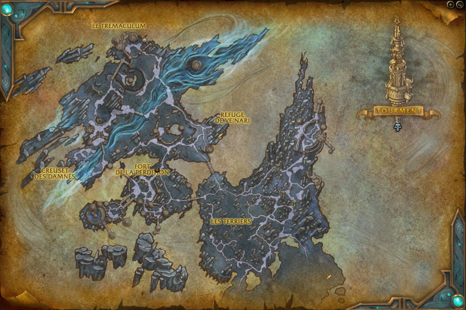 Carte de l'Antre dans la version 9.1 de WoW